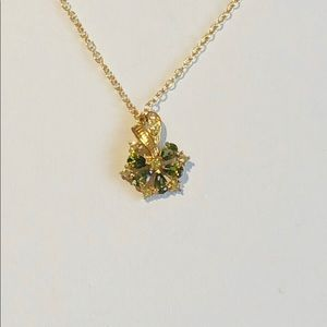 Green Crystal Gold Tone Necklace